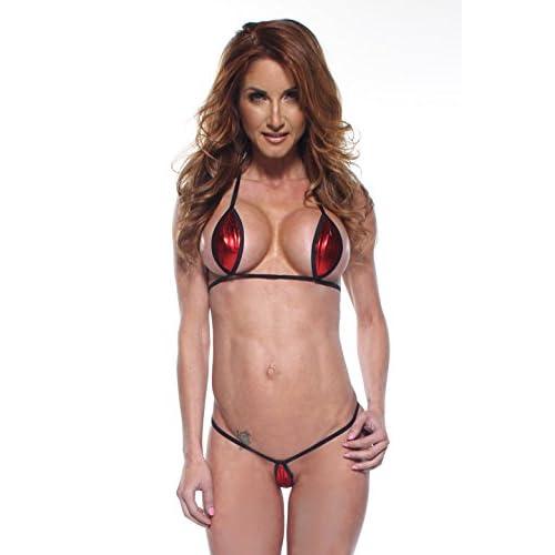 3f47b4255c1 hot sale 2017 Solid Red Foil Sexy Mini Teardrop Bikini 2pc Top Micro G- String