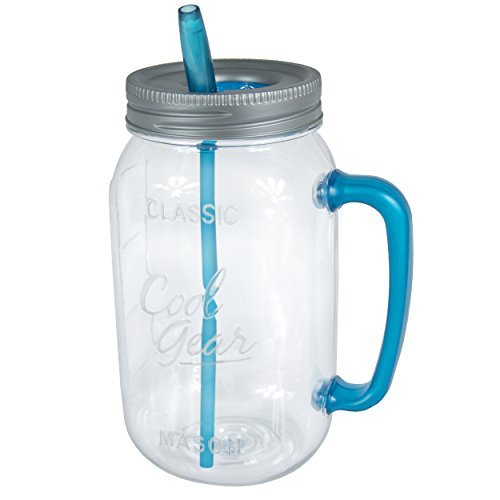 Cool Gear Handle Mason Jar Water Bottle, 63 oz, Blue