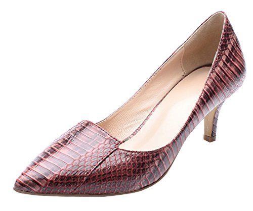 Dress Stiletto Red Toe Snake Pointed Party Evening Pumps TDA Patent Women's Print Leather vqz7xw6Ra