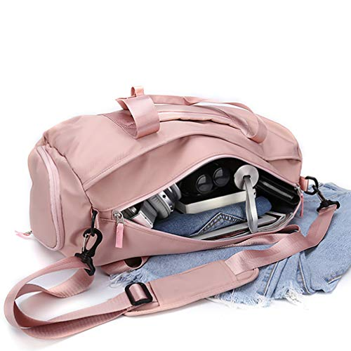 Gym bag for women, workout duffel bag shoe compartment, sports gym bags with wet pocket and shoe compartment, Pink