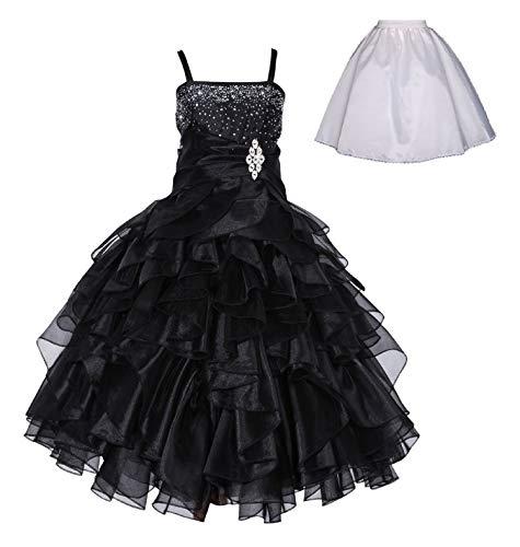ekidsbridal Elegant Stunning Rhinestone Organza Pleated Ruffled Flower Girl Dress Free Petticoat 164s 14 Black (Best Quinceanera Dress Designers)