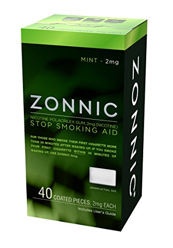ZONNIC Nicotine Gum 2mg Mint - 40 Count - Quit Smoking Aids, Sugar Free Stop Smoking Gum