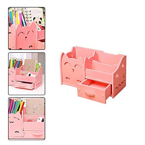 WopenJucy Kinder Schreibtisch Organizer Kreative Stifthalter Multifunktions Desktop Aufbewahrungsbox Genie/ßen Sie DIY Spa/ß Rosa