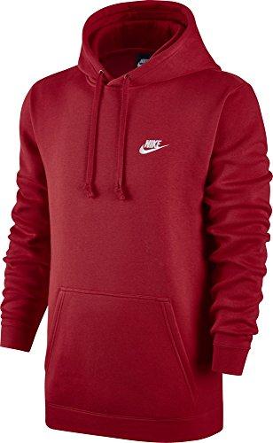 Nike Mens Sportswear Pull Over Club Hooded Sweatshirt University Red/White 804346-657 Size Large