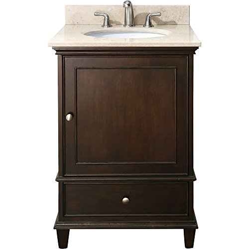 Stone Sink Chest (Avanity Windsor 24 in. Vanity with Galala Beige Marble top and Undermount Sink in Walnut finish)