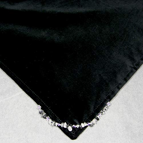 Altar Cloth, 20 Inch, Hand-Made Reversible Black Velveteen & Purple Satin w/Tourmaline Rutilated Quartz Crystals, AC449