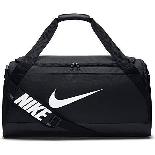 NIKE Brasilia Training Duffel Bag, Black/Black/White, - Nike Training Gold Shorts