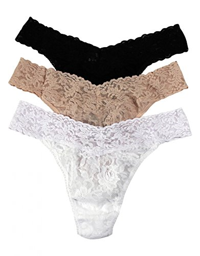 Hanky Panky Women's Signature Lace Original Rise Thong 3-Pack Black/Chai/White Thongs One Size