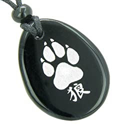 Lucky Wolf Paw Kanji Spiritual Amulet Black Agate Pendant Necklace