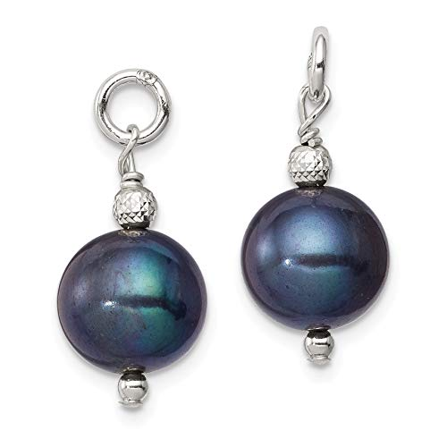 Hoop Earring Enhancers - Sterling Silver Freshwater Cultured Peacock Pearl and Bead Hoop Earring Enhancers