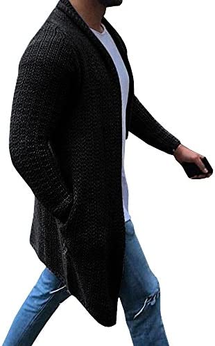 Mens Cardigan Sweater Shawl Collar Open Front Long Sleeve Knit Slim Fit Vintage Coat with Pockets