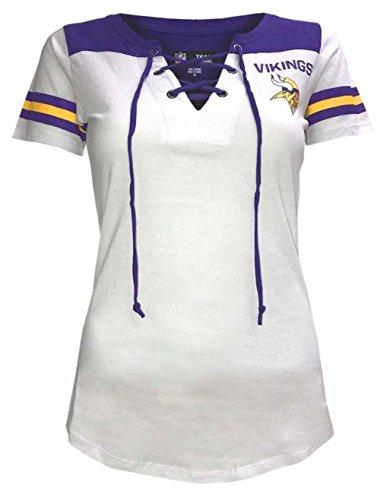 - New Era Minnesota Vikings Women's Sleeve Striped Lace-Up T-shirt X-Small