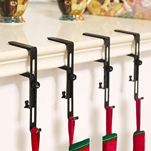 GLY 2019 Christmas Stocking Garland Adjustable Holder Hook Hanger Fireplace Two Hooks for Dual Purpose Gold and Silver Plating- 4 Pack (Christmas Stocking Hanger)