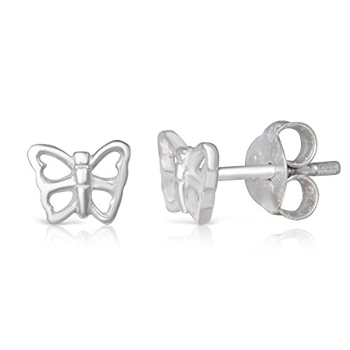 Rhodium Butterfly Earrings - Sterling Silver Open Butterfly Dainty Rhodium Plated Small Stud Earrings Girls Teens Women