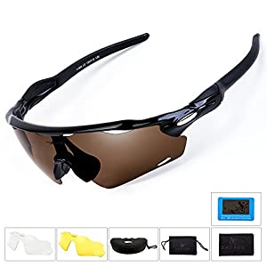 BATFOX Polarized Sport Sunglasses Glasses with Interchangeable Lenses Glasses for Men women Running Cycling Baseball Fishing Baseball Driving Outdoor 100% UV Protection(Brown, F-868)