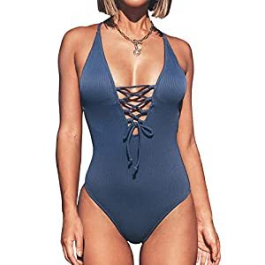 CUPSHE Women's Solid Color V Neck Lace Up One Piece Swimsuit