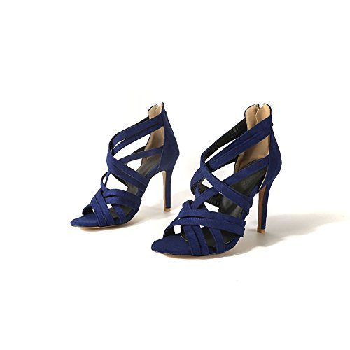 Scamosciata Scarpe Casual Donna Blue Romane Stivali Alti Estivi Sandali Sottile Pelle in da Scarpe Open Comfort Cintura Toe CqfCxFR