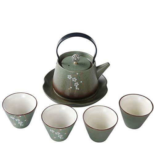 Kays Teapot Travel Kungfu Tea Set Handmade Chinese/Japanese Vintage, Porcelain(Qinghua Style - 4 Teacups & Teapot)