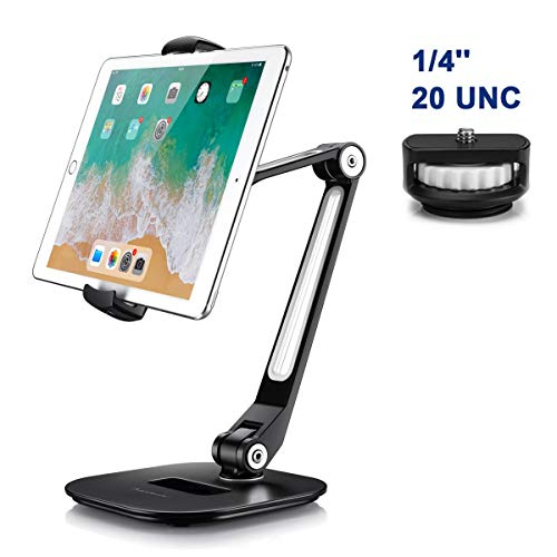 Homeleader Aluminum Tablet Stand, Adjustable iPad Stand with 360° Swivel, Tablet Holder Fits 4-11