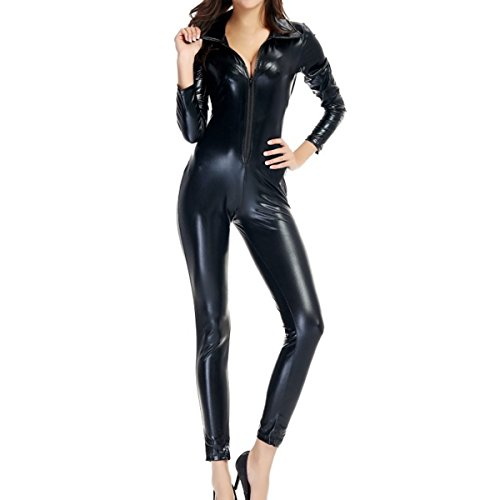 Quesera Women's Catsuit Costume Wet Look Zipper Front Halloween Cosplay Bodysuit, Black, Tag size M=US size (Latex Catwoman Suit)