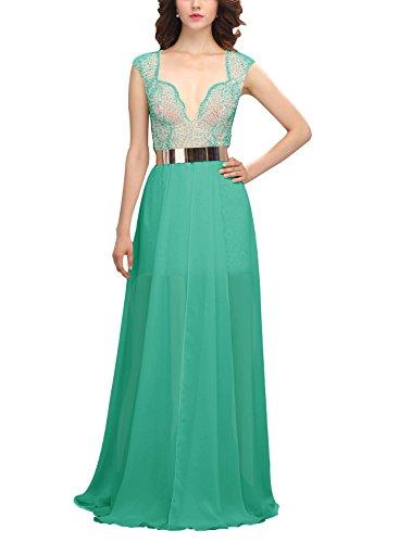 Bbonlinedress Vestido Largo Elegante De Gasa Con Cinturón Gala De Fiesta Noche Verde