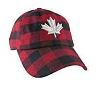 Canadian White Maple Leaf 3D Puff Embroidery Red and Black Buffalo Check Plaid Soft Structured Fashion Baseball Cap Dad Hat Style Lumberjack + Options