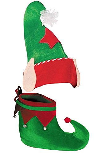 West End Studios Elf Hat with Ears and Shoes for Christmas, Holiday Parties and Events ()