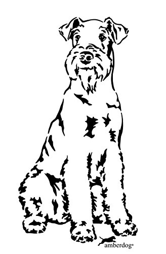 amberdog Airedale Terrier Art.Nr.AT0162 Aufkleber Wohnmobil Wohnwagen 20x15cm, schwarz