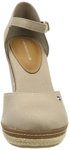 Hilfiger Closed cobblestone Tommy Femme Wedge Iconic Beige Espadrilles Toe Basic 068 POdwqFTztd