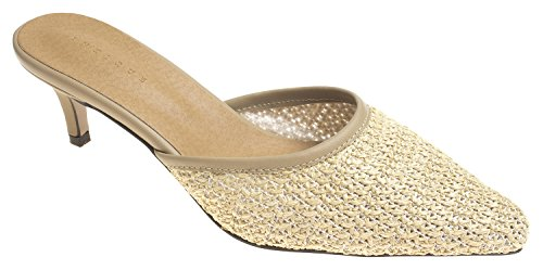 AnnaKastle Womens Pointy Toe Natural Woven Kitten Heel Mule Slide Sandal Beige KUkCzD