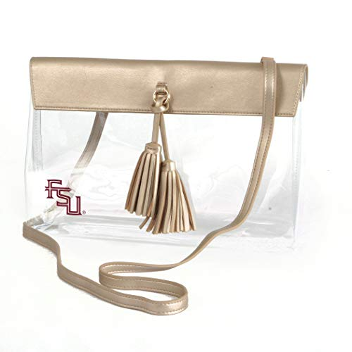 (Desden Florida State Seminoles Clear Handbag with Logo, Vegan Leather Trim and Tassels)
