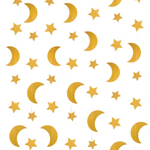 Glitter Gold Twinkle Stars Moon Paper Streamers Crescent Hanging Decoration Wedding Favors Baby Shower Birthday Party Decoration Table Centerpieces, 24 ft