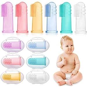 6 PCS Cepillo Dientes Bebe, bebé cepillo de dientes de los niños de silicona, Con Caja Cepillo Dedo Bebe Para, Seguro e… 6