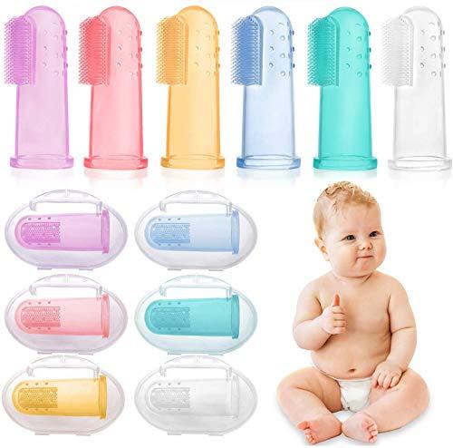 6 PCS Cepillo Dientes Bebe, bebé cepillo de dientes de los niños de silicona, Con Caja Cepillo Dedo Bebe Para, Seguro e… 1