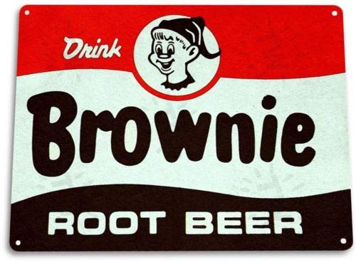 (TIN Sign Brownie Root Beer Soda Cola Kitchen Cottage Retro Label)