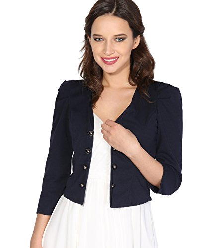 Krisp Women Ruched 3/4 Sleeve Military Shrug Blazer Jacket (Navy, -