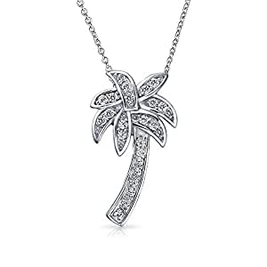 Bling Jewelry Plata Esterlina CZ Allanar Palmera colgante de collar 16.