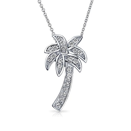 Pave CZ Palm Tree Pendant Sterling Silver Necklace 16 (Pave Palm Tree)
