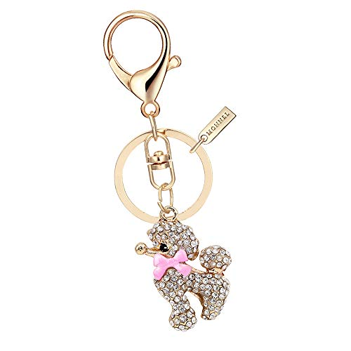 Monnel MZ811-1 Crystal Pink Bow Poodle Keychain Key Ring with Pouch - Poodle Crystal