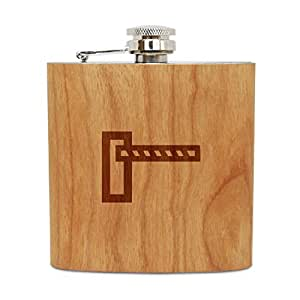 Barrier Gate 6 Oz Wooden Flask (Cherry), Stainless Steel Body, Handmade In Usa