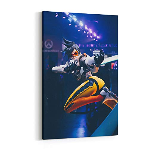 Video Game Canvas Wall Art, Overwatch Canvas Photo Print of Character Tracer - Modern Home Decor Stretched and Framed Ready to Hang for Living Room Bedroom Dining Study Office - 12x18 Inch
