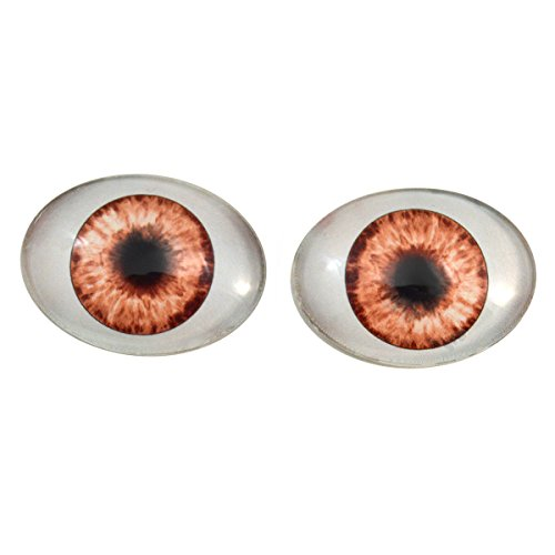 Brown Doll Oval Glass Eyes Fantasy Taxidermy Art Doll Making or Jewelry Crafts Set of 2 (30mm x 40mm) -
