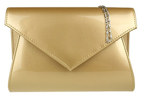 Girly Bag Plain HandBags HandBags Clutch Glossy Girly Gold rfYrwq4