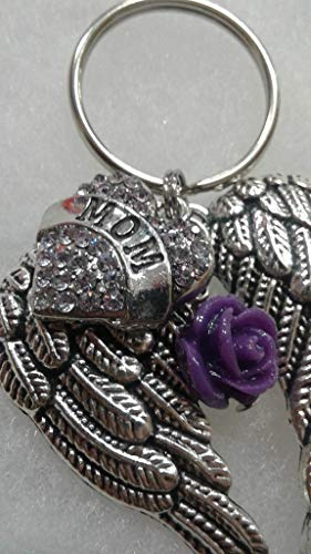 Contemporary Heart Keychain - Mom Memorial Wings Keychain with Lavender Rhinestone Heart and Purple Rose Charm