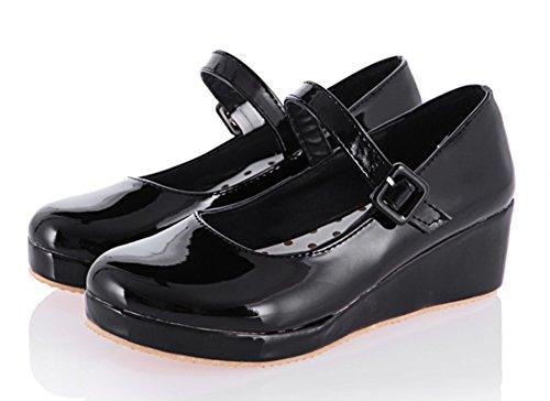 omfy Patent Leather Round Toe Buckle Strap Platform Heels Dress Wedge Mid Heel Mary-Jane Pumps Shoes Black 8 B(M) US ()