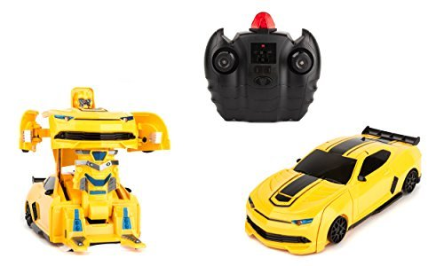 Wall-Climbing Fast Electric RC Toys Autobots Yellow Transformable Robot Race Cars + Remote Control - The Perfect Gift For Kids! Drives On The Wall, Ceiling and Floor.