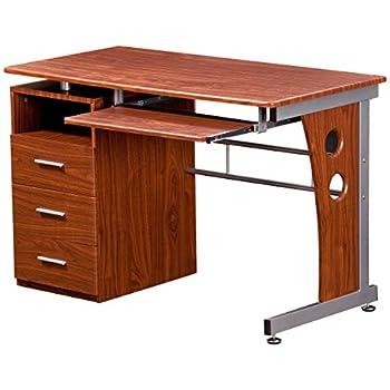 Charmant Techni Mobili Computer Desk With Storage, Mahogany