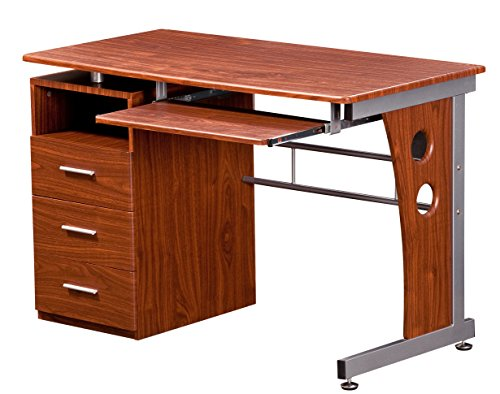 - Techni Mobili Computer Desk with Storage, Mahogany