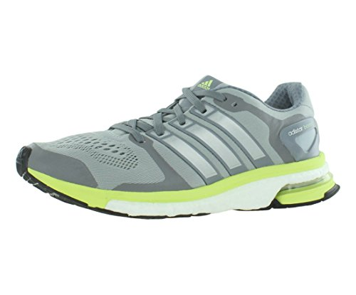 adidas Women's Adistar Boost W ESM Light Grey/Lime Green Running Shoe 10 Women US