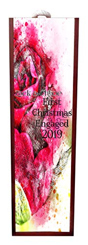 Jacks Outlet First Christmas Engaged Watercolor Rose -Wine Box Personalized - Wine Box Rosewood with Slide Top - Wine Box Holder - Wine Case Decoration - Wine Case Wood - Wine Box Carrier ()